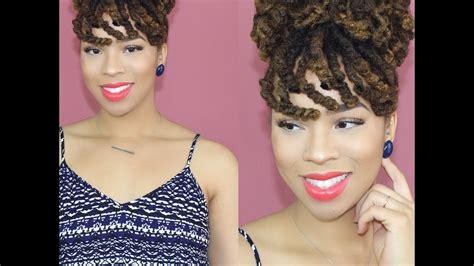 ww bun and bang curly loc bun with faux bangs youtube