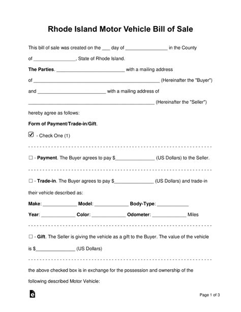 Bill Of Sale Template Ri Free Rhode Island Motor Vehicle Bill Of Sale Form Word Pdf Eforms Free Fillable Forms