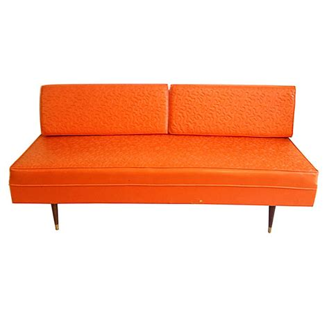 Vintage Leather Sofa Tangerine Oragne Day Bed On Antique Vintage Leather Sofa