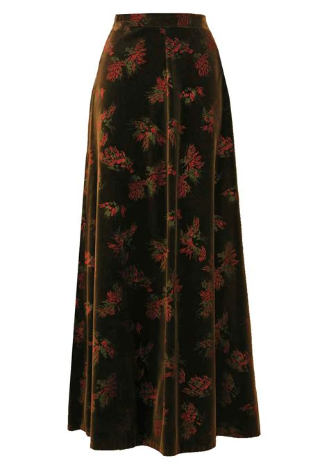 1970 s brown velvet maxi skirt with abstract motif s vintage