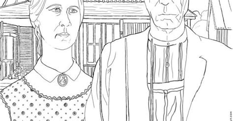 free art history coloring pages american gothic gothic