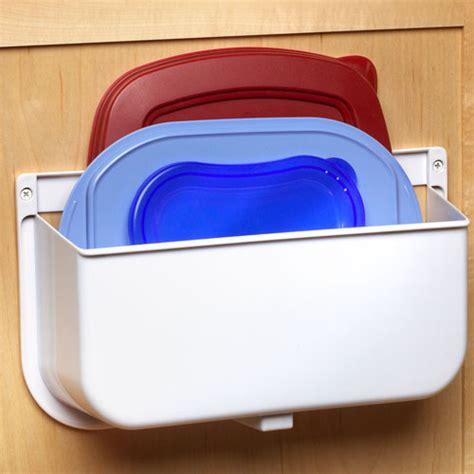 kitchen lid storage mounted lid caddy or plastic bag recycler in cabinet door