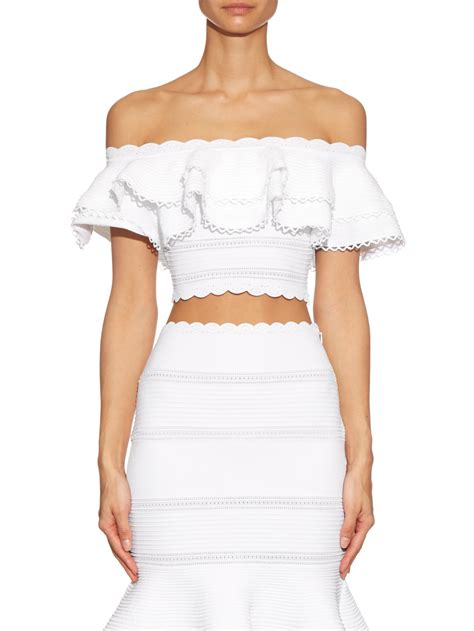 The Shoulder Ruffle Top lyst mcqueen ruffled the shoulder cropped