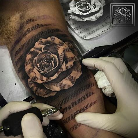 rose with music notes tattoo 17 best ideas about sleeve tattoos on