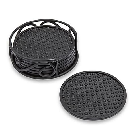 bed bath and beyond coasters spectrum rubber coasters with scroll holder set of 6 bed bath beyond