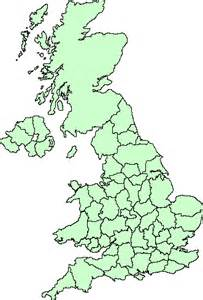 Britain Counties Outline Map by Met Office Stations County Map