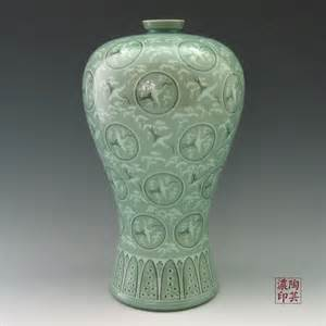 ceramic vase from korea inlaid with celadon clouds and