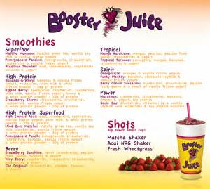 Canada Price List Booster Juice Hospitality Services