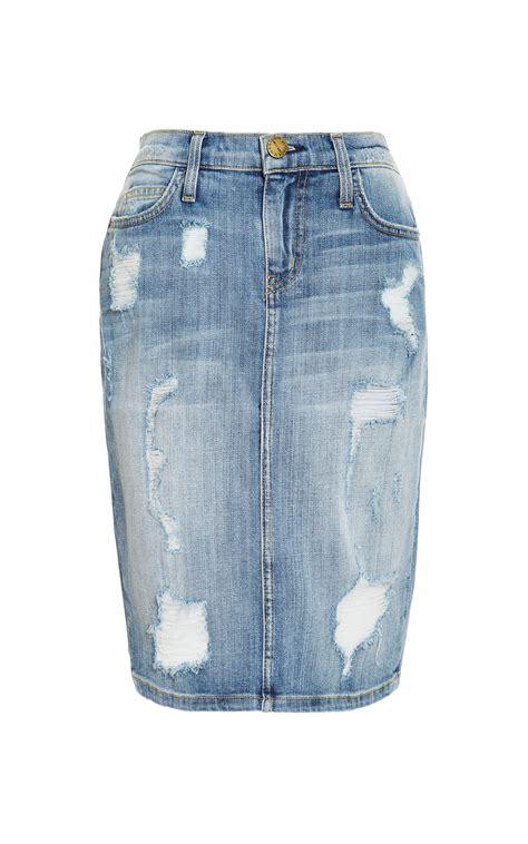 current elliott stiletto distressed denim skirt in blue