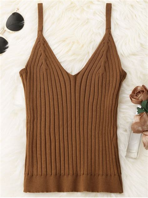 knitted ribbed tank top coffee tank tops one size zaful