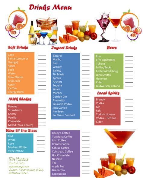 Drink Menu Template 5 Best Drink Menu Formats Cocktail Menu Template Free