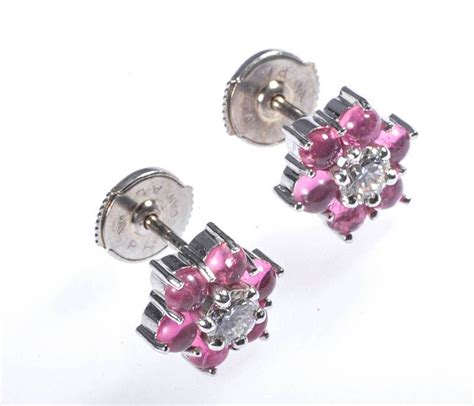 18 ct white gold pink tourmaline flower shaped