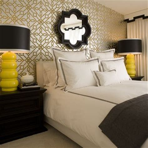 yellow gold and black bedroom quatrefoil eclectic bedroom