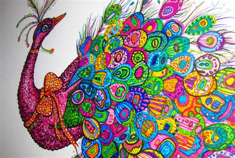 colorful drawings peacock colour pencil and in color