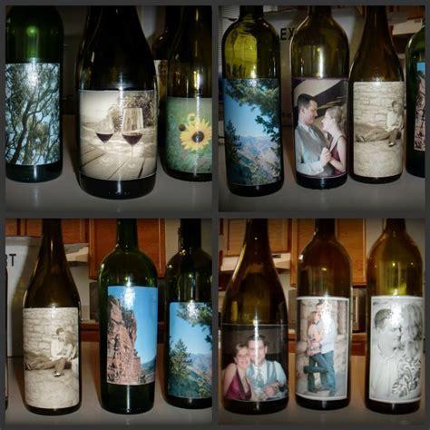 bridal shower   mod podge wine bottle centerpieces, pics