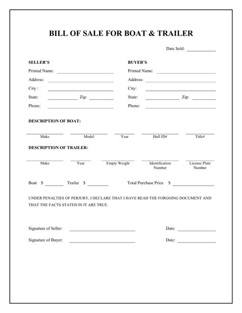 Jet Credit Application Form Boat Bill Sale Free Printable Boat Trailer Bill Of Sale Form Stuff To Buy