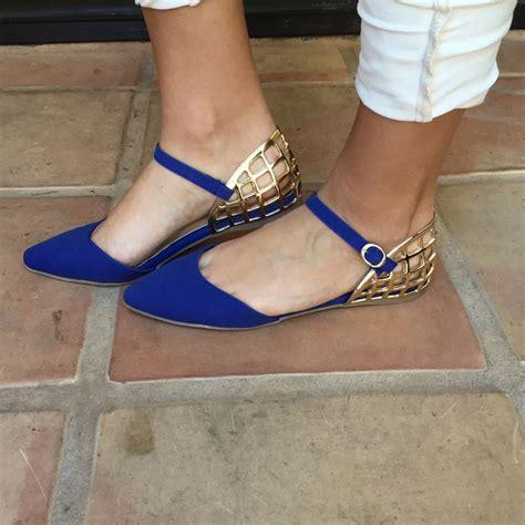 royal blue dara flats royal blue gold mila point toe flats shoes shoe
