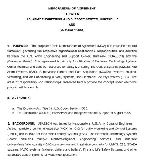 memorandum of agreement template army army memorandum template 4 free word pdf documents