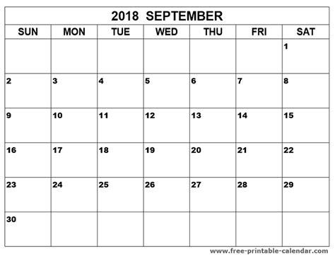 printable calendar 2018 september september 2018 calendar printable