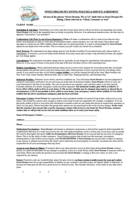 Top Pet Sitting Contract Templates Free To Download In Pdf Format Pet Sitter Contract Template Free