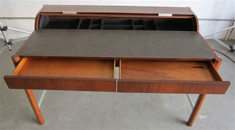 mid century modern office desk vintage hekman mid century modern desk with cylinder roll