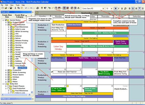 reel production calendar software by reel logix software