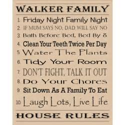 house rules personalised family house rules word art gift