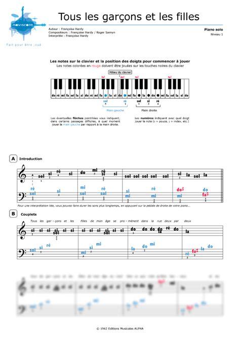 francoise hardy tous les garcons chords partition piano tous les gar 231 ons et les filles fran 231 oise