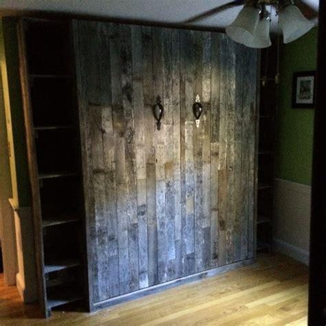 Reclaimed pallet wood murphy bed craftsman bedroom boston by oldham wood