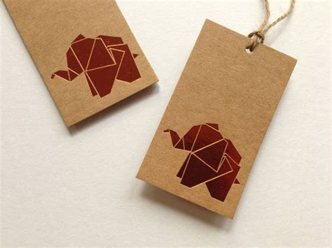 Origami Gift Tags - origami elephant kraft gift tag set of 5 by yellowark on