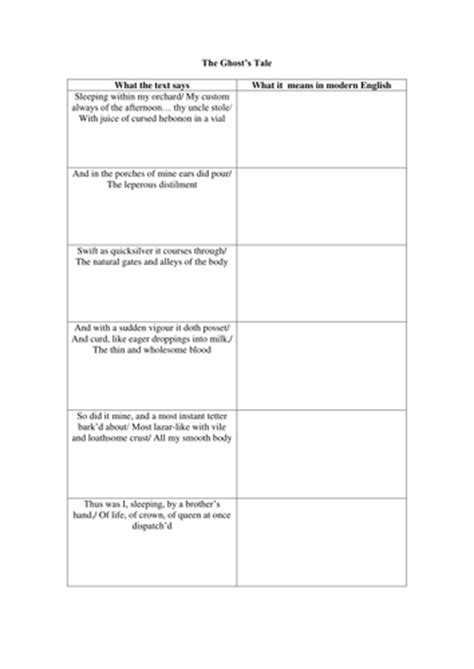 printable version of hamlet shakespeare extracts hamlet ghost lesson plan by tiger