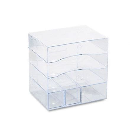 Rubbermaid Four Way Plastic Organizer With Drawers Clear Rubbermaid Desk Organizers