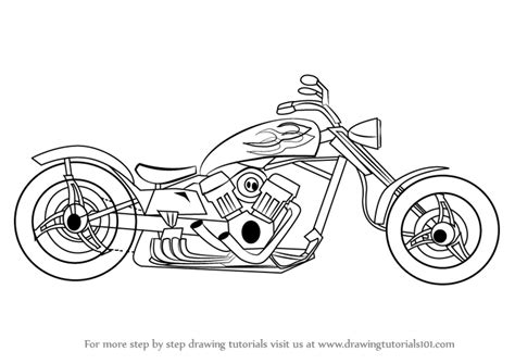 Motorrad Zeichnen by Learn How To Draw A Chopper Two Wheelers Step By Step