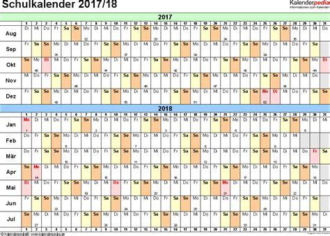 Schulkalender Ausdrucken Schulkalender 2017 2018 Als Pdf Vorlagen Zum Ausdrucken