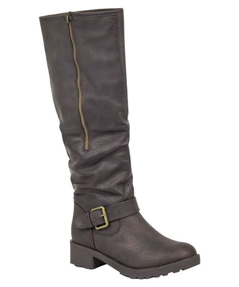 womens knee high wide calf fit boots buckle