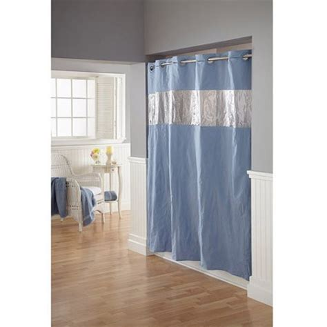 hookless shower curtain walmart hookless vision blue peva shower curtain walmart com