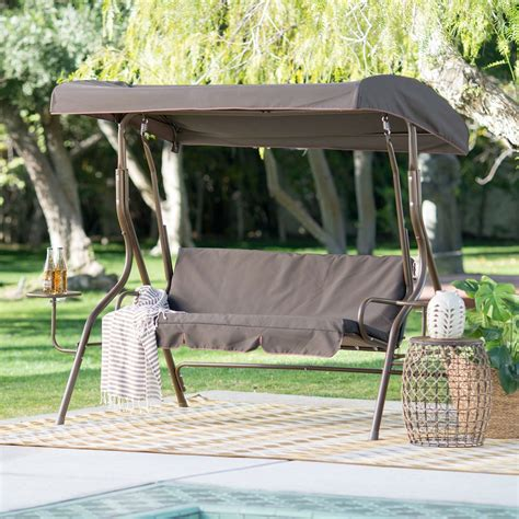 Patio Swing With Canopy And Table Outdoor Patio 2 Person Porch Swing With Adjustable Tilt