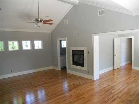 Grey Walls With Wood Floors by Hardwood Floor Refinishing Green Button Homes