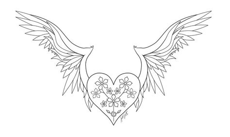 coloring pages heart with wings hearts with wings and roses coloring pages coloring home