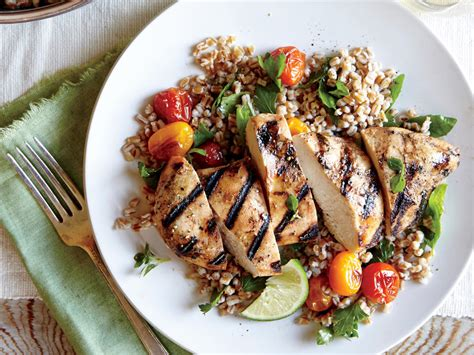 light grilled chicken recipes herbed wheat berry roasted tomato salad grilled