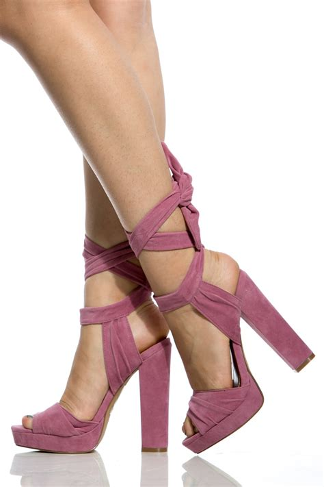dc high heel shoes mauve faux suede wrap around chunky platform heels
