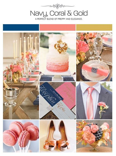 Navy, coral and gold wedding inspiration board, color