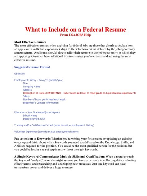 What To Include In Resume by What To Include On A Federal Resume Bop