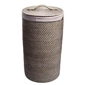 Turn Shower Into Bath rattan laundry hamper medium grey