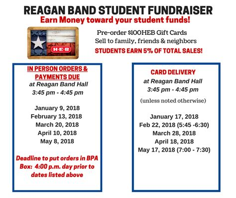 Heb Grocery Gift Cards - heb gift cards 2017 2018 schedule ronald reagan high school bandronald reagan