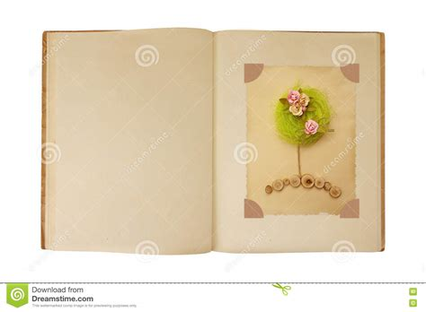 story book layout design vintage book open with flower tree card design inside