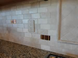 tumbled marble kitchen backsplash 2 215 4 tumbled travertine offset subway back splash w glass tile accents ta lutz wesley