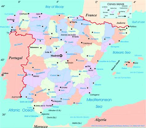 map of spain with cities map of cities in spain