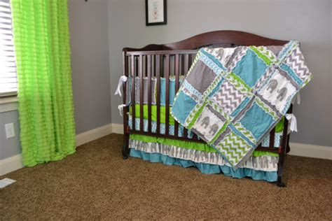 Green Elephant Crib Bedding Items Similar To Custom Crib Set Lime Green Gray Blue With Chevron Elephant Fabrics With