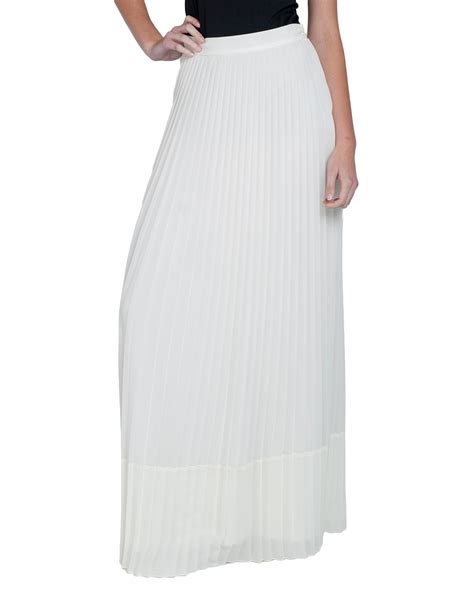 badgley mischka sheer pleated maxi skirt in white lyst